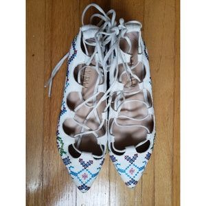 Anthro Billy Ella Lace Up White Patterned Flats